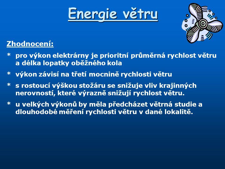 Energie větru Zhodnocení: