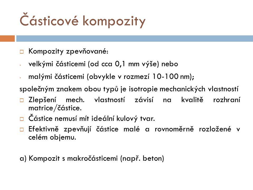 Částicové kompozity Kompozity zpevňované: