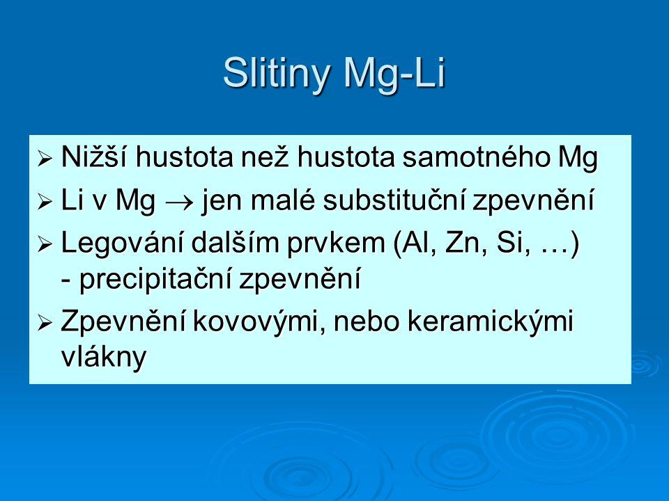 Slitiny Mg-Li Nižší hustota než hustota samotného Mg