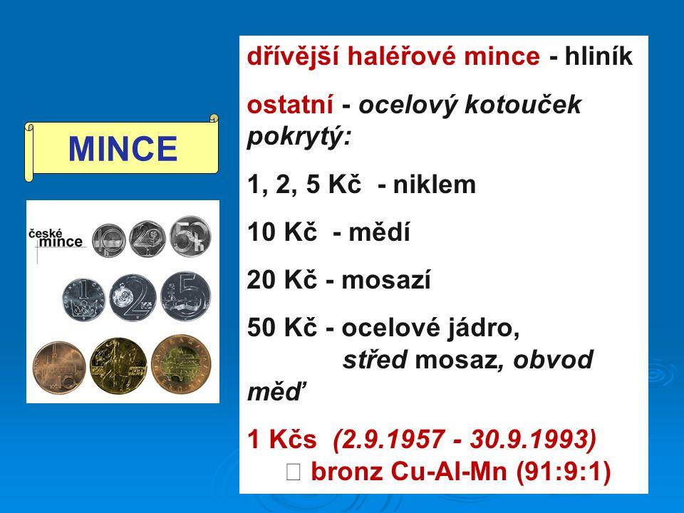 MINCE dřívější haléřové mince - hliník