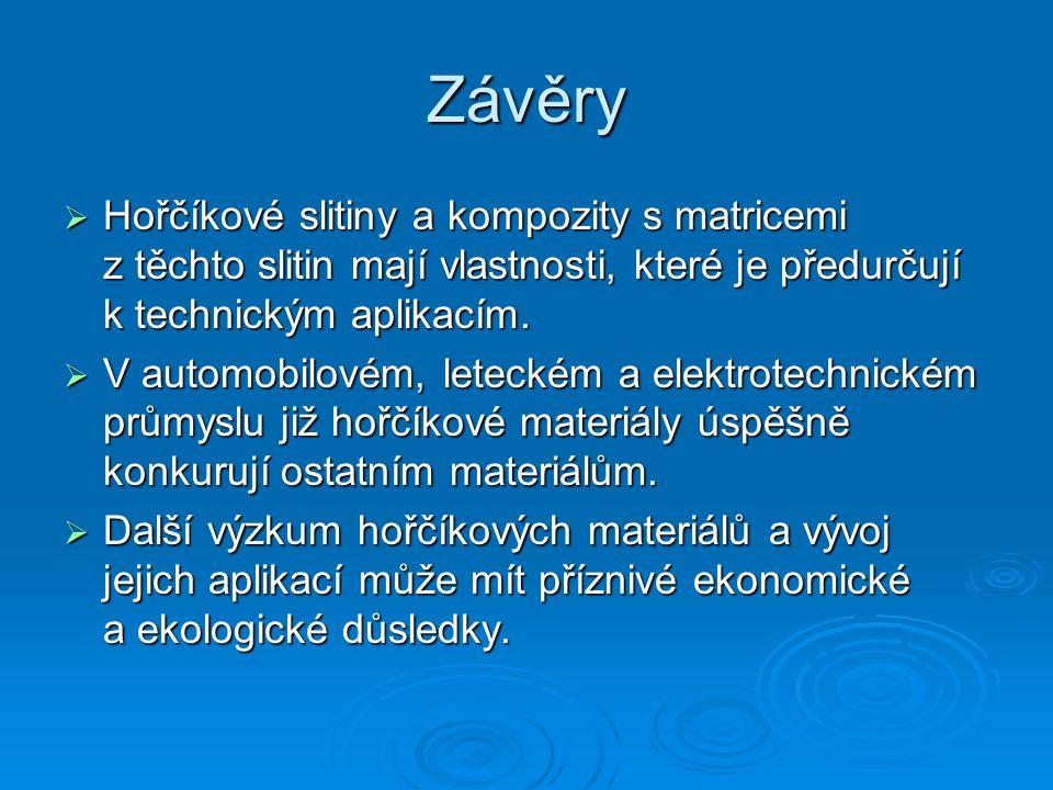 Závěry Hořčíkové slitiny a kompozity s matricemi z těchto slitin mají vlastnosti, které je předurčují k technickým aplikacím.