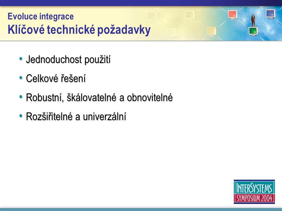 Evoluce integrace Klíčové technické požadavky