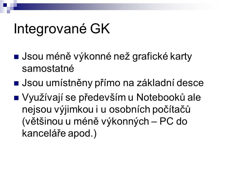 Integrované GK Jsou méně výkonné než grafické karty samostatné
