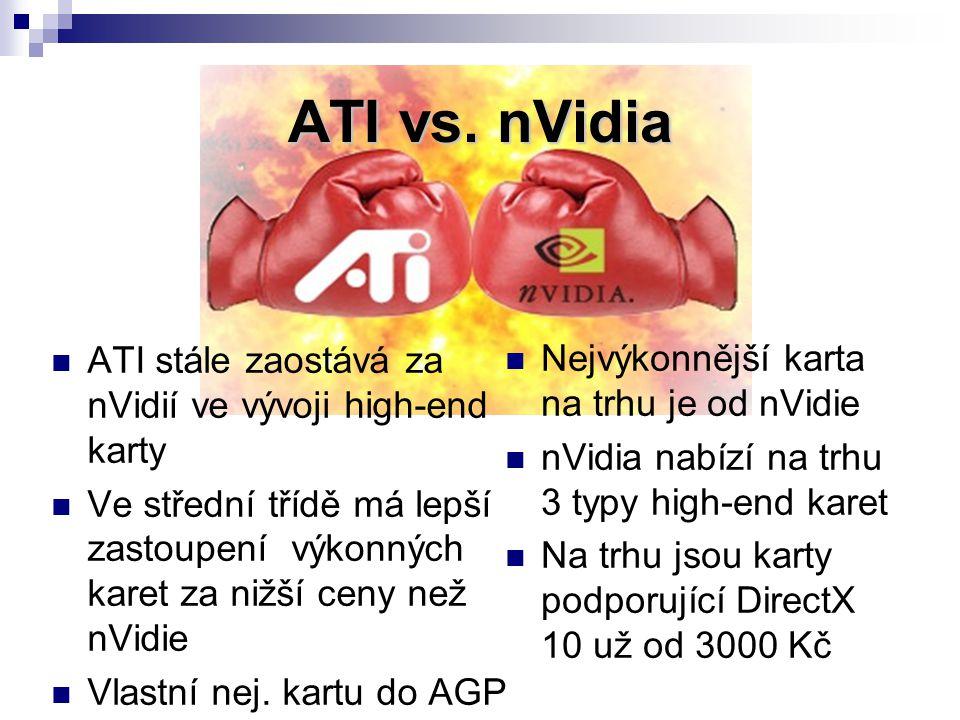 ATI vs. nVidia ATI stále zaostává za nVidií ve vývoji high-end karty