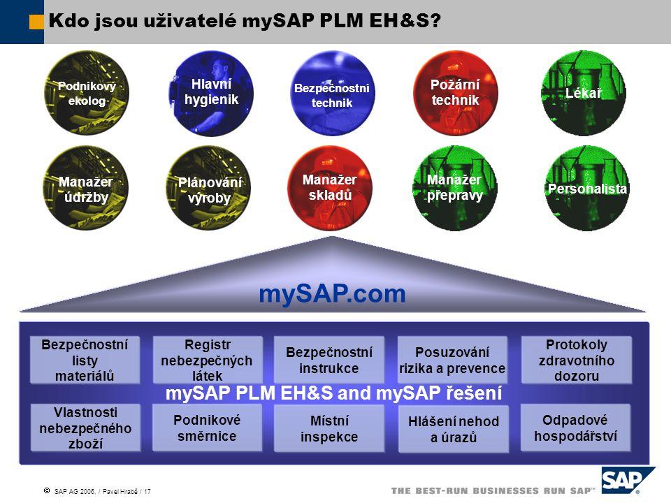 Kdo jsou uživatelé mySAP PLM EH&S