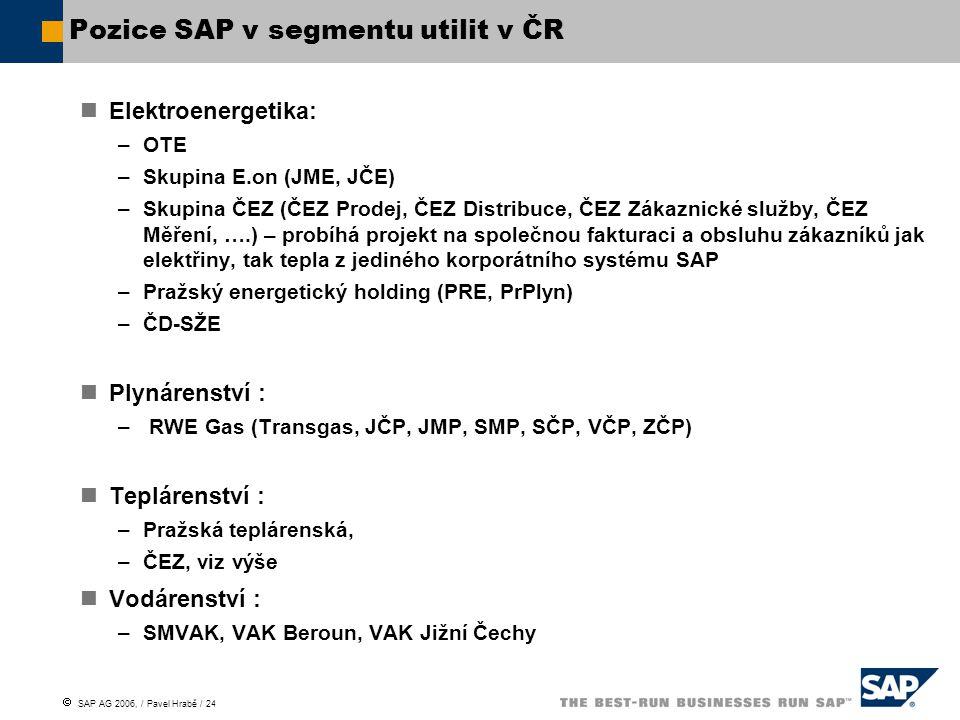 Pozice SAP v segmentu utilit v ČR