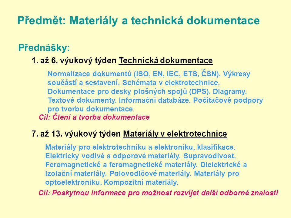 Předmět: Materiály a technická dokumentace