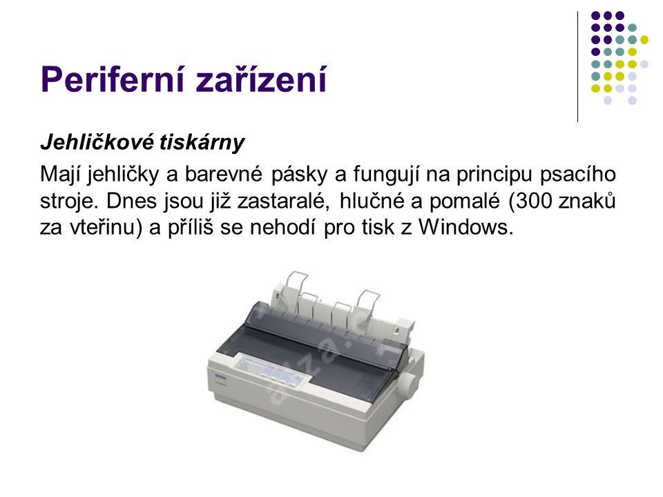 Periferní zařízení Jehličkové tiskárny