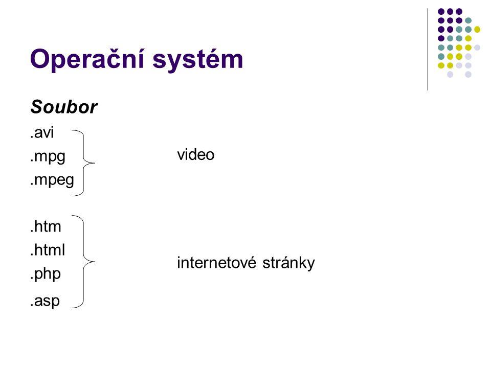 Operační systém Soubor .avi .mpg .mpeg video .htm .html .php .asp