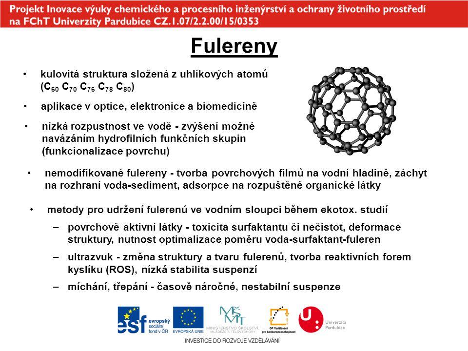 Fulereny kulovitá struktura složená z uhlíkových atomů (C60 C70 C76 C78 C80) aplikace v optice, elektronice a biomedicíně.