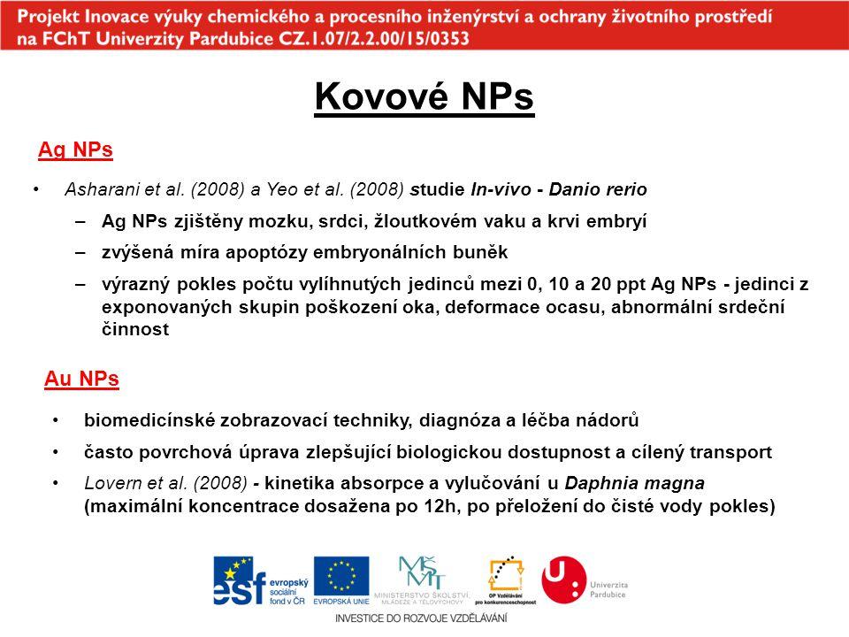 Kovové NPs Ag NPs. Asharani et al. (2008) a Yeo et al. (2008) studie In-vivo - Danio rerio.