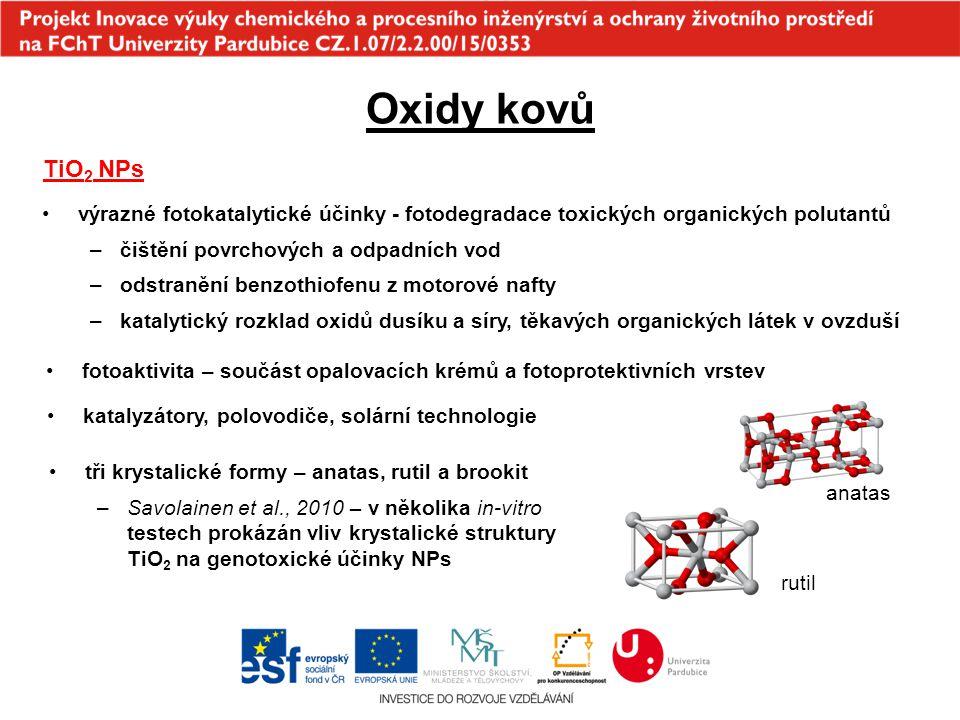 Oxidy kovů TiO2 NPs. výrazné fotokatalytické účinky - fotodegradace toxických organických polutantů.