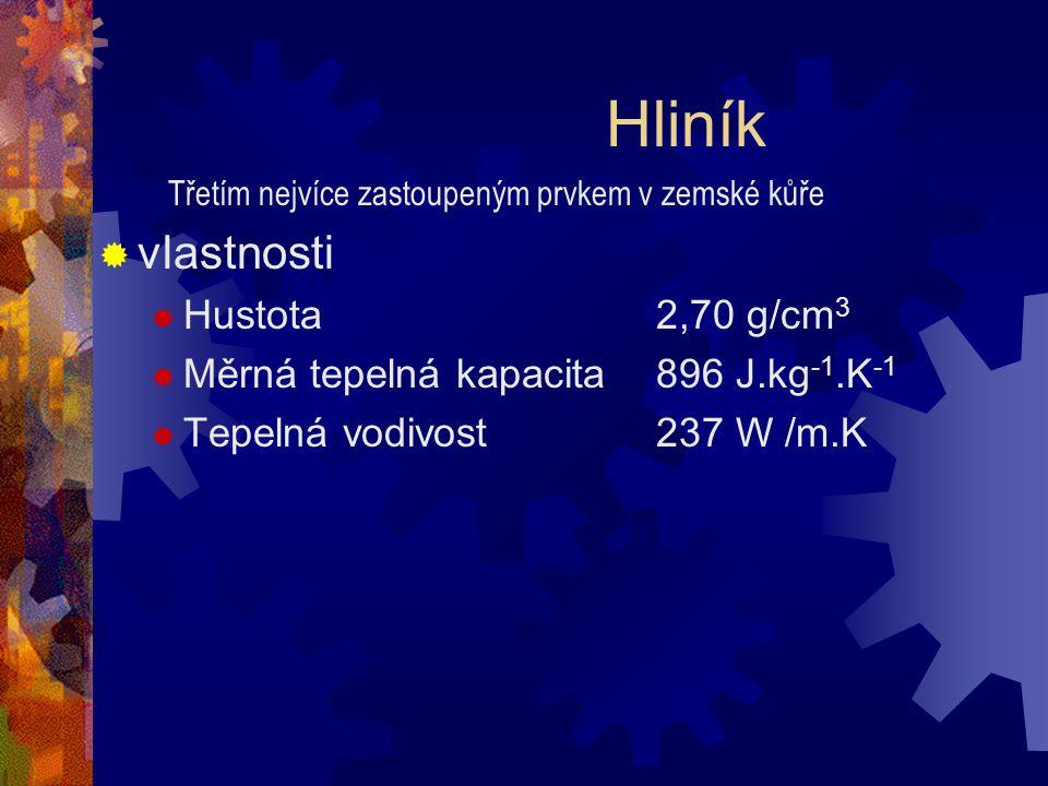 Hliník vlastnosti Hustota 2,70 g/cm3