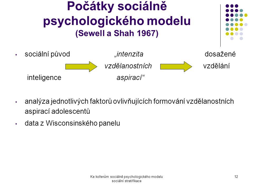 Počátky sociálně psychologického modelu (Sewell a Shah 1967)