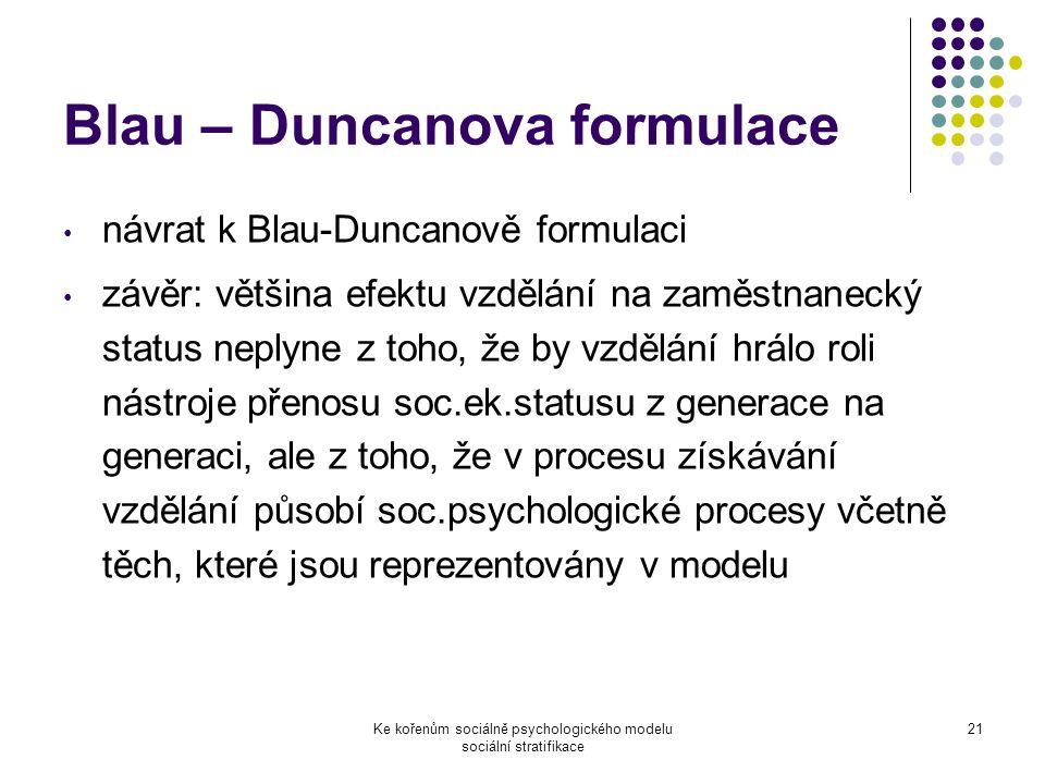 Blau – Duncanova formulace