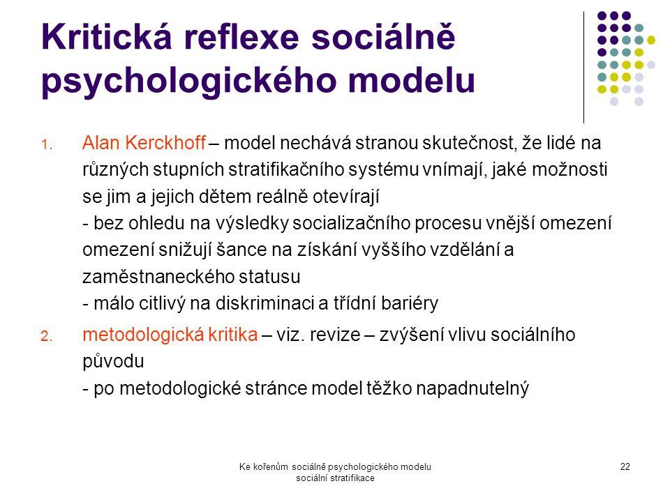 Kritická reflexe sociálně psychologického modelu