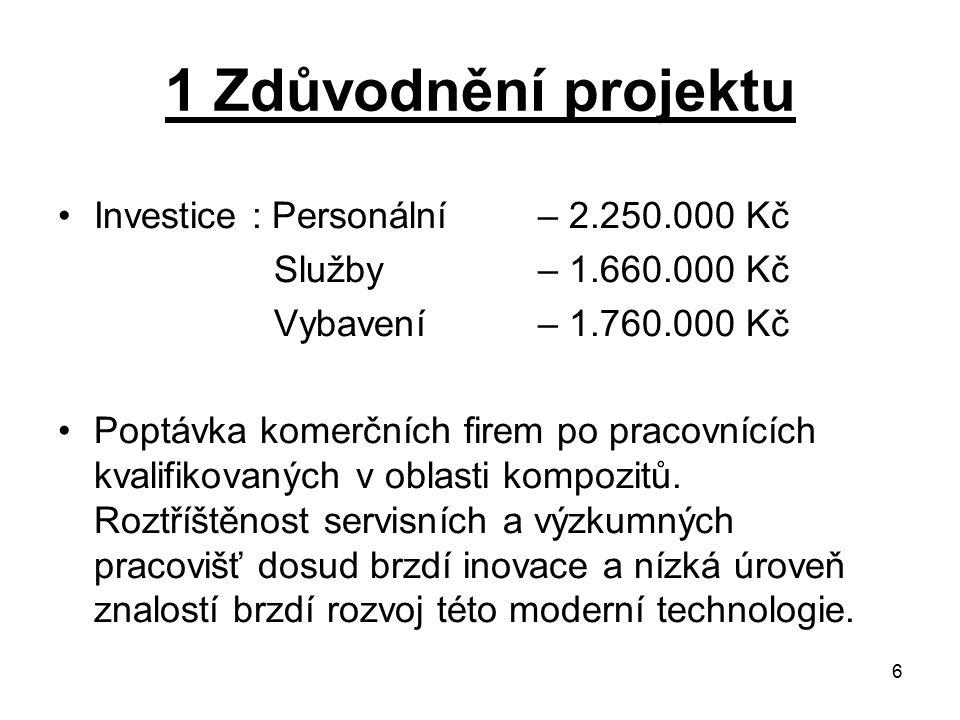 1 Zdůvodnění projektu Investice : Personální – 2.250.000 Kč