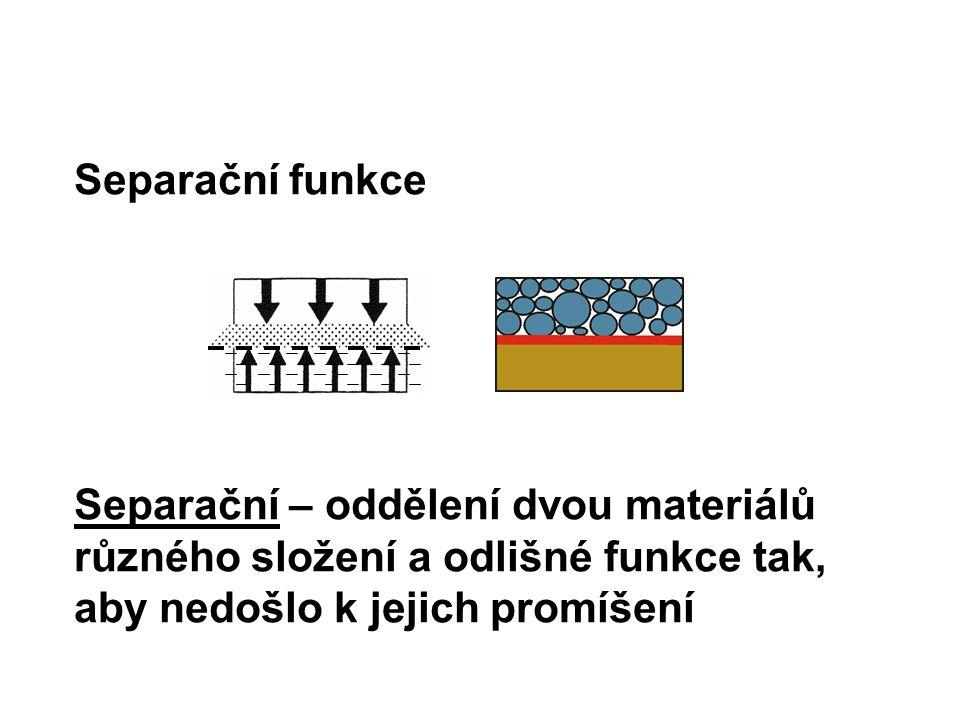 Separační funkce Separační – oddělení dvou materiálů různého složení a odlišné funkce tak, aby nedošlo k jejich promíšení.