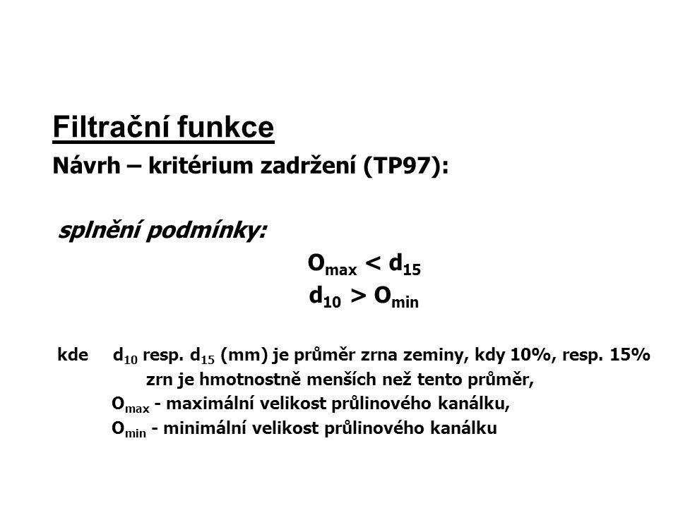 Filtrační funkce Návrh – kritérium zadržení (TP97): splnění podmínky: