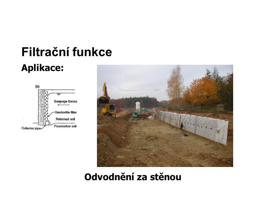 Filtrační funkce Aplikace: Odvodnění za stěnou