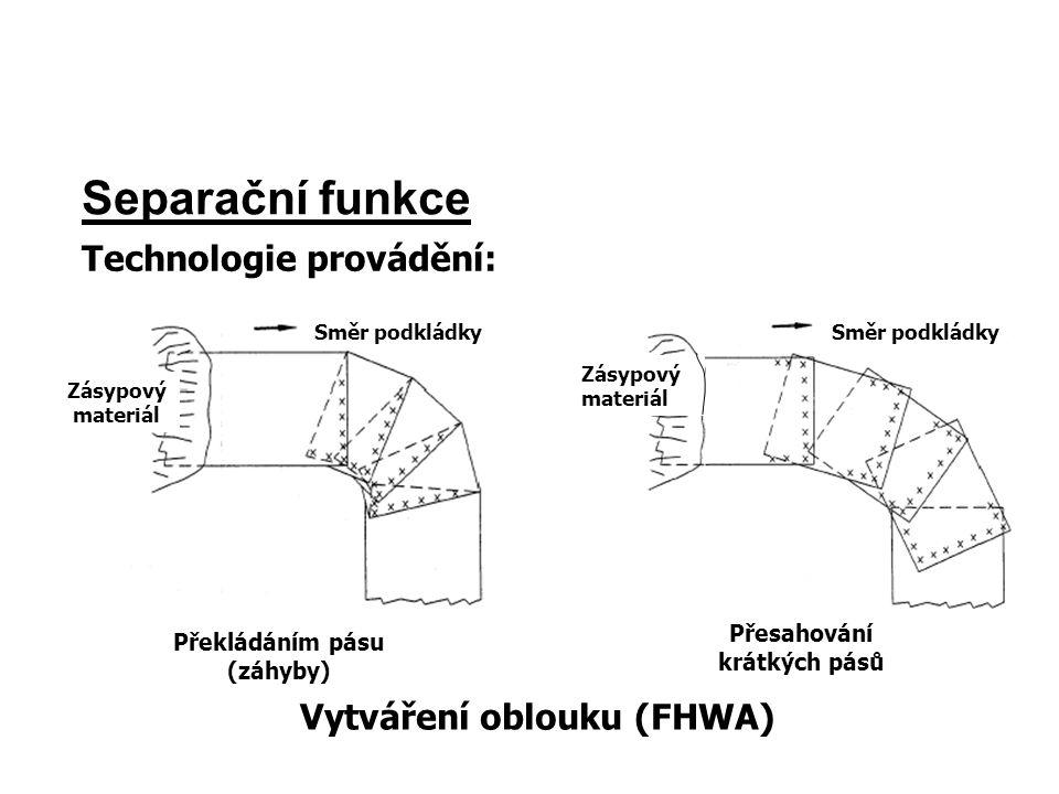 Separační funkce Technologie provádění: Vytváření oblouku (FHWA)
