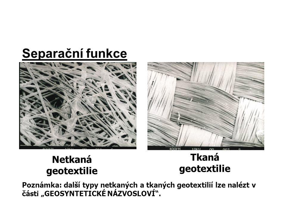 Separační funkce Tkaná geotextilie Netkaná geotextilie