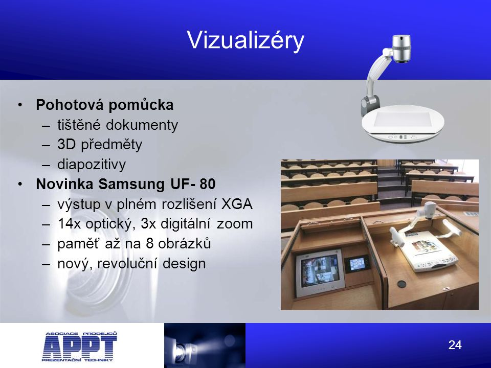 Vizualizéry Pohotová pomůcka tištěné dokumenty 3D předměty diapozitivy