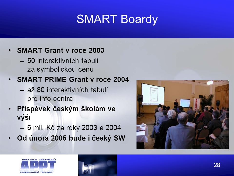 SMART Boardy SMART Grant v roce 2003