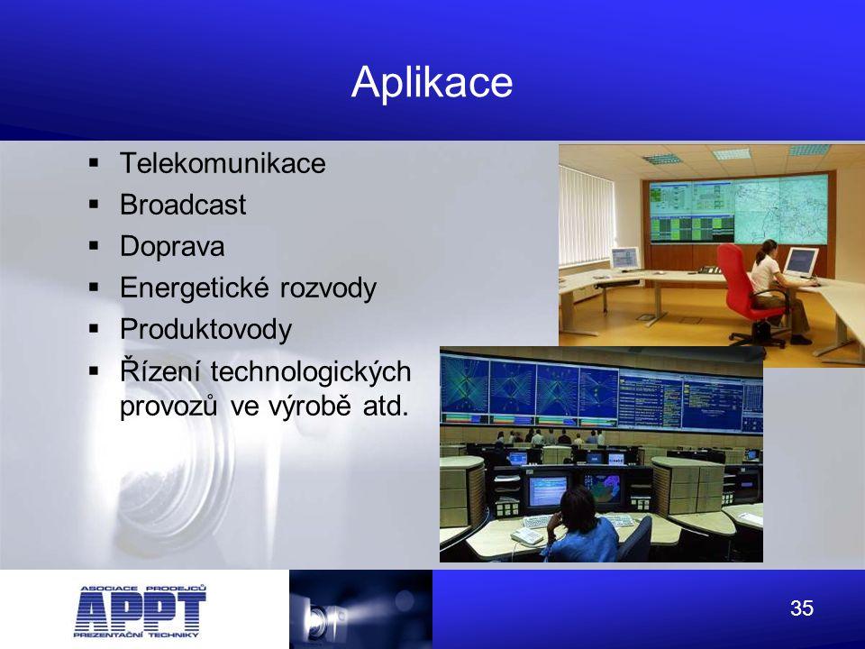 Aplikace Telekomunikace Broadcast Doprava Energetické rozvody