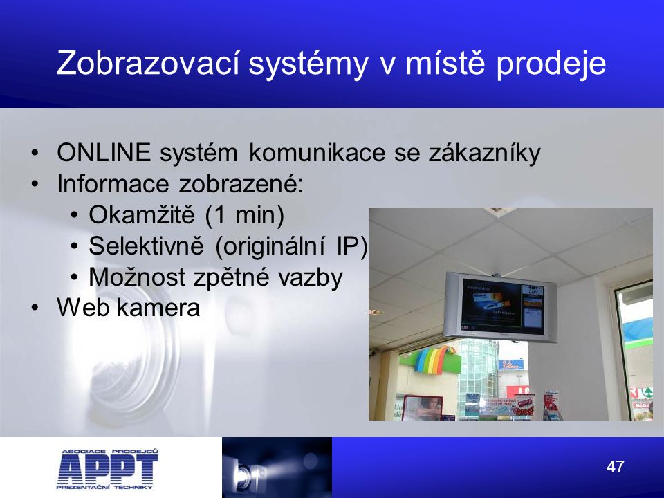 Zobrazovací systémy v místě prodeje