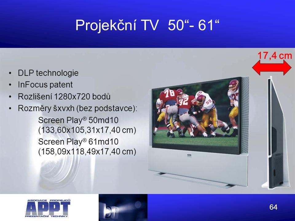 Projekční TV 50 - 61 17,4 cm DLP technologie InFocus patent