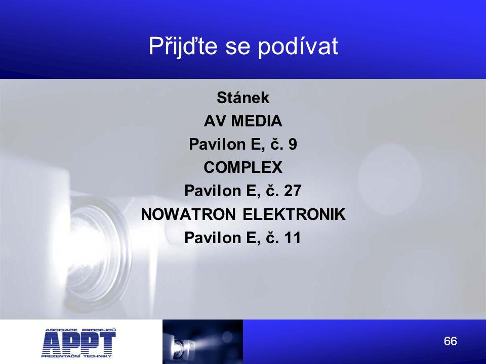 Přijďte se podívat Stánek AV MEDIA Pavilon E, č. 9 COMPLEX