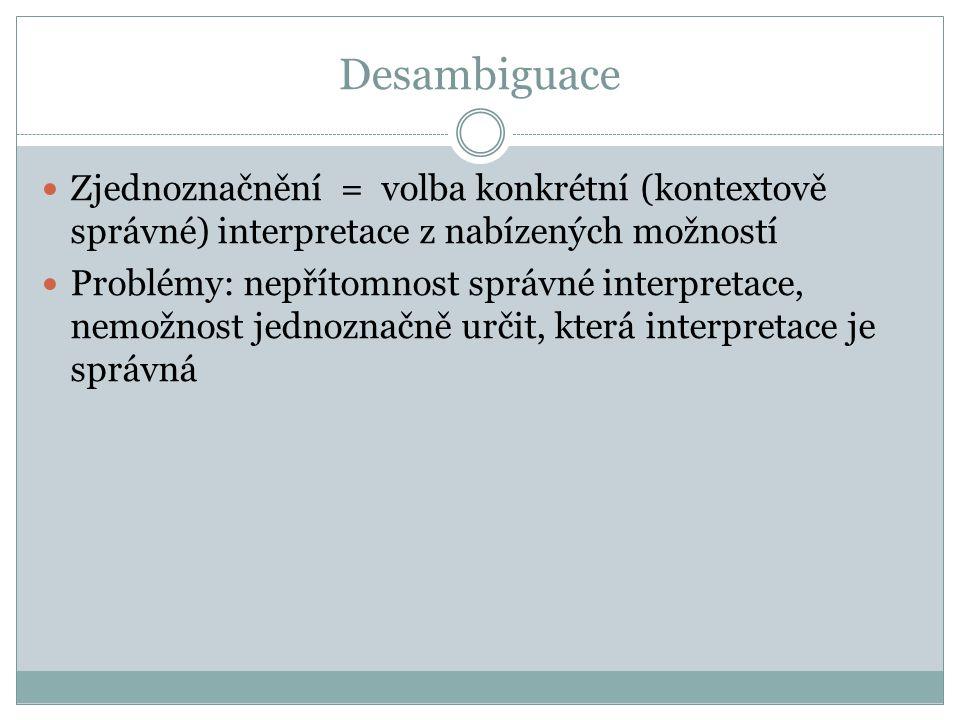 Desambiguace Zjednoznačnění = volba konkrétní (kontextově správné) interpretace z nabízených možností.