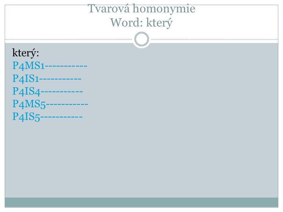 Tvarová homonymie Word: který