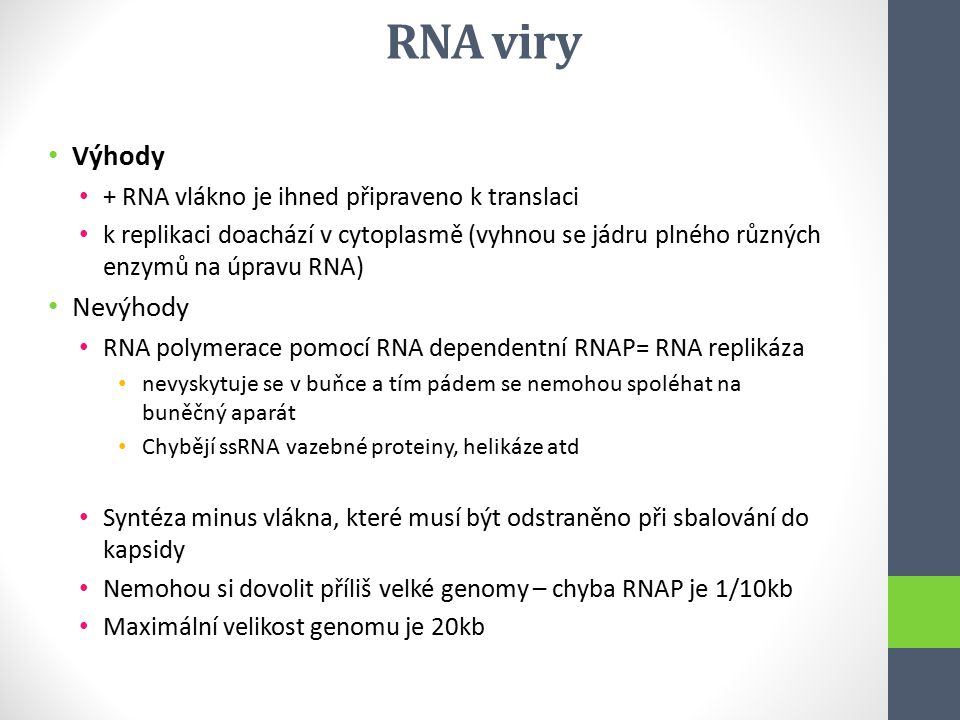 RNA viry Výhody Nevýhody + RNA vlákno je ihned připraveno k translaci