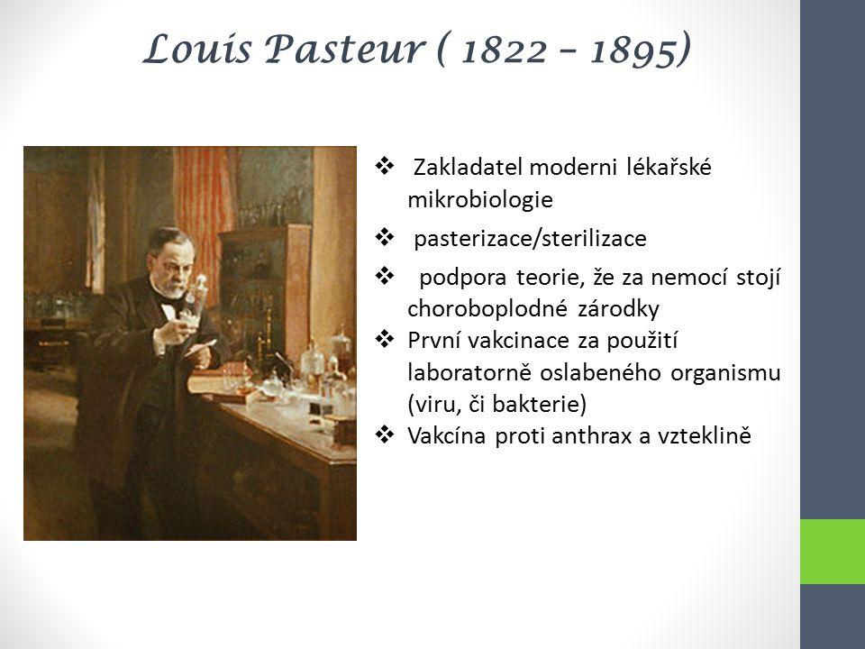 Louis Pasteur ( 1822 – 1895) Zakladatel moderni lékařské mikrobiologie