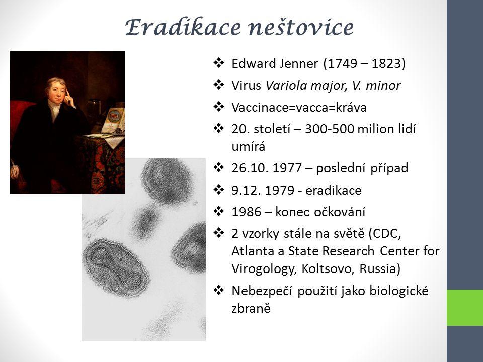 Eradikace neštovice Edward Jenner (1749 – 1823)