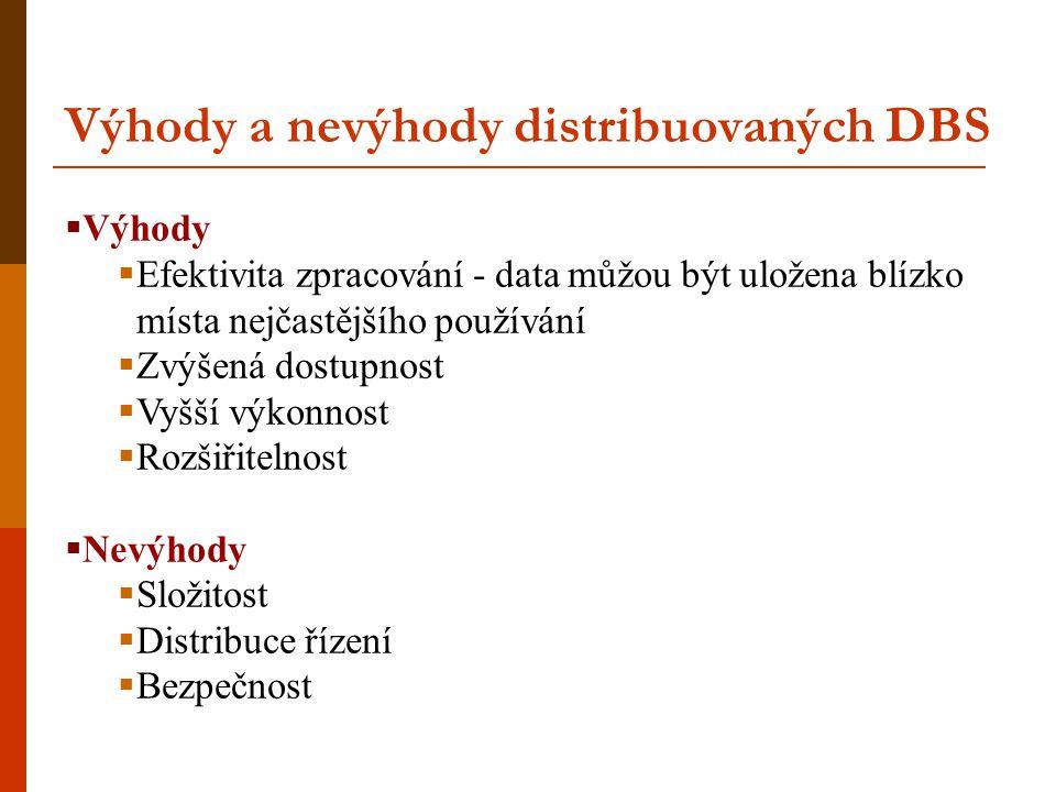 Výhody a nevýhody distribuovaných DBS