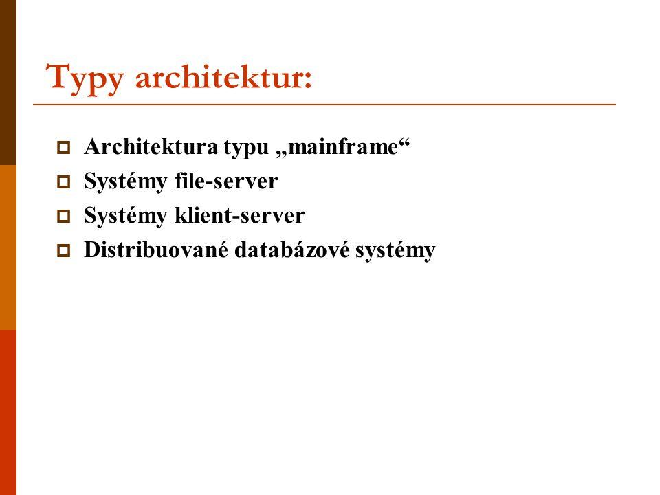 "Typy architektur: Architektura typu ""mainframe Systémy file-server"