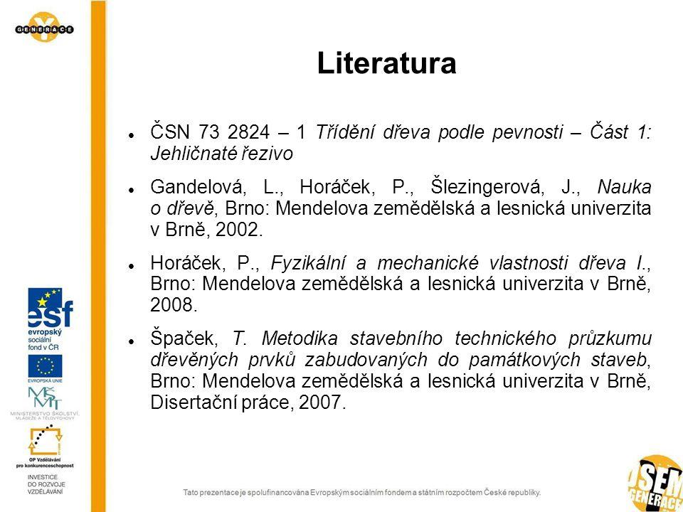 Literatura ČSN 73 2824 – 1 Třídění dřeva podle pevnosti – Část 1: Jehličnaté řezivo.