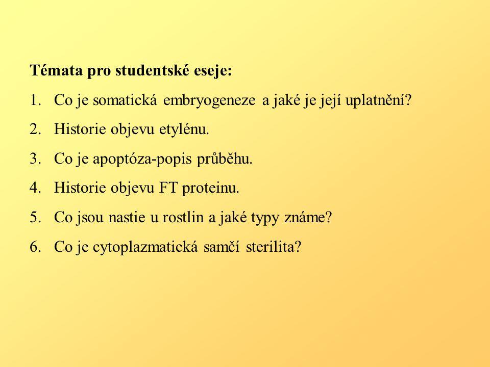 Témata pro studentské eseje: