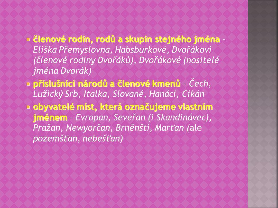 členové rodin, rodů a skupin stejného jména – Eliška Přemyslovna, Habsburkové, Dvořákovi (členové rodiny Dvořáků), Dvořákové (nositelé jména Dvorák)