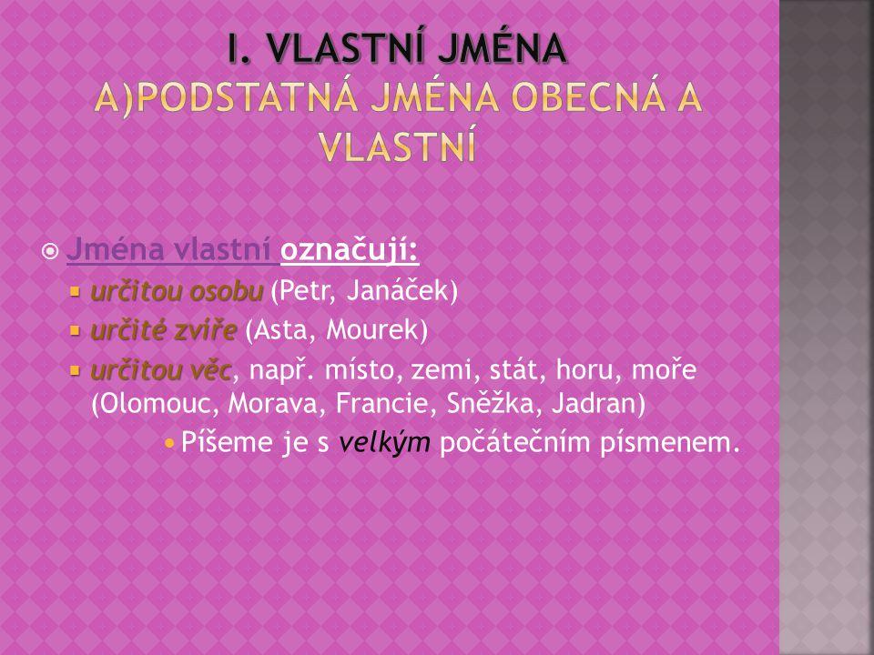 I. Vlastní jména A)Podstatná jména obecná a vlastní
