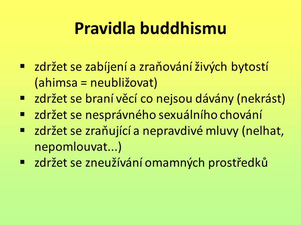 Pravidla buddhismu zdržet se zabíjení a zraňování živých bytostí (ahimsa = neubližovat) zdržet se braní věcí co nejsou dávány (nekrást)