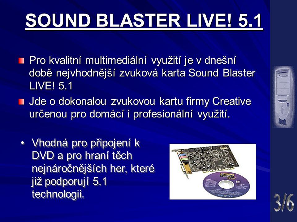 SOUND BLASTER LIVE! 5.1 Pro kvalitní multimediální využití je v dnešní době nejvhodnější zvuková karta Sound Blaster LIVE! 5.1.