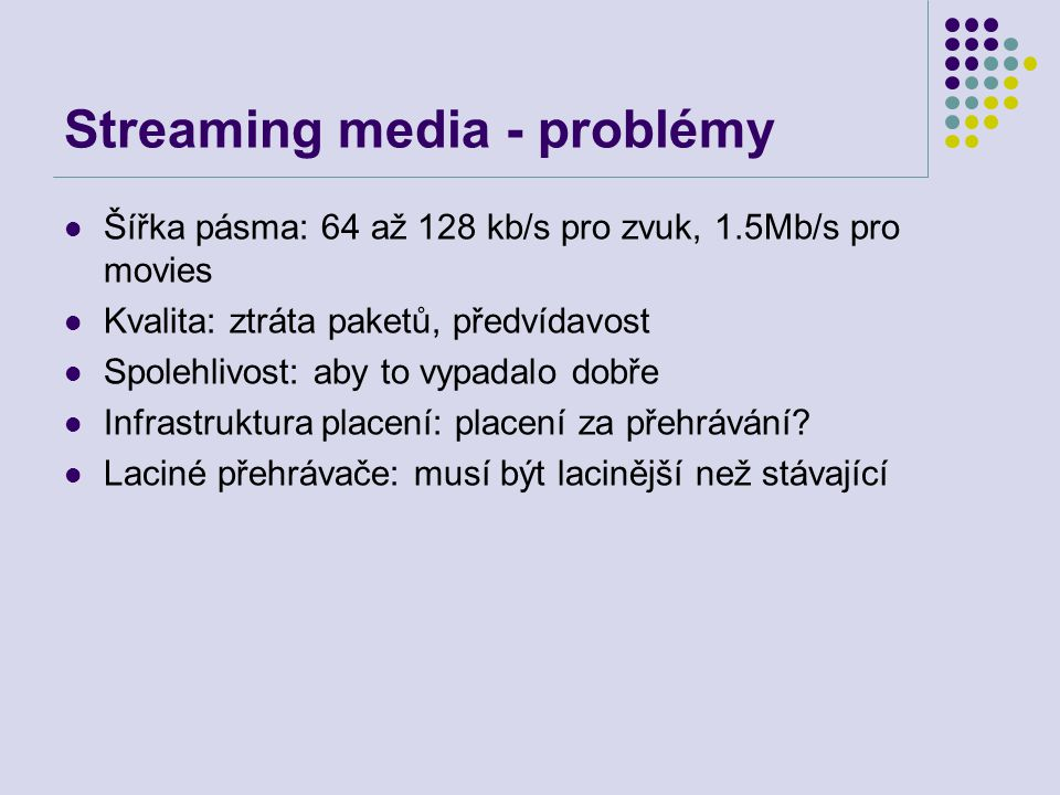 Streaming media - problémy