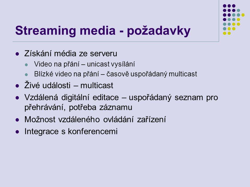 Streaming media - požadavky
