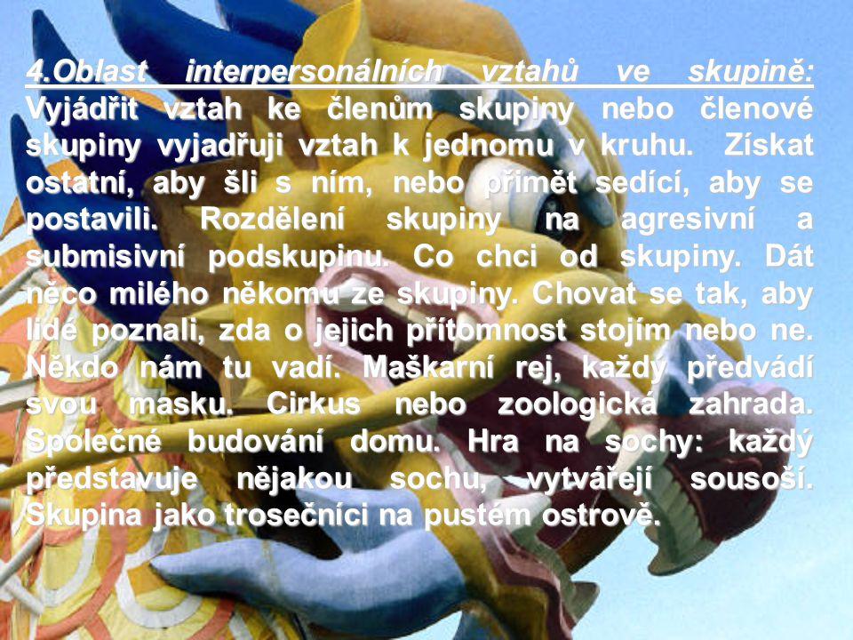 4.Oblast interpersonálních vztahů ve skupině: Vyjádřit vztah ke členům skupiny nebo členové skupiny vyjadřuji vztah k jednomu v kruhu.