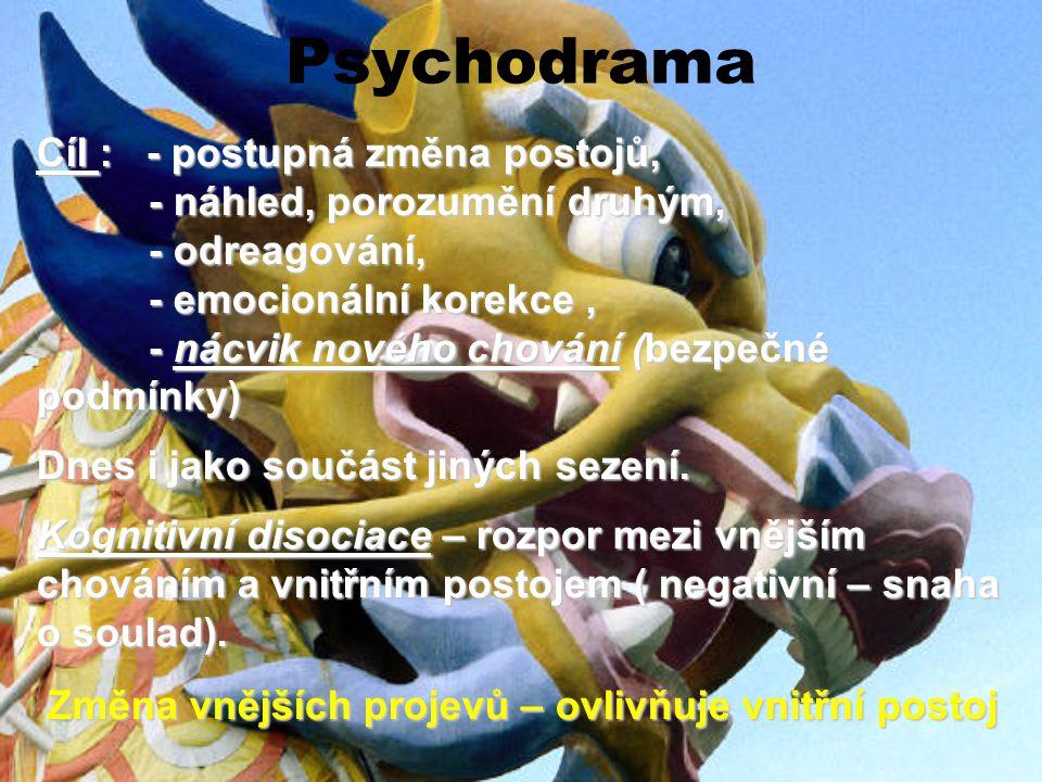 Psychodrama Cíl : - postupná změna postojů,