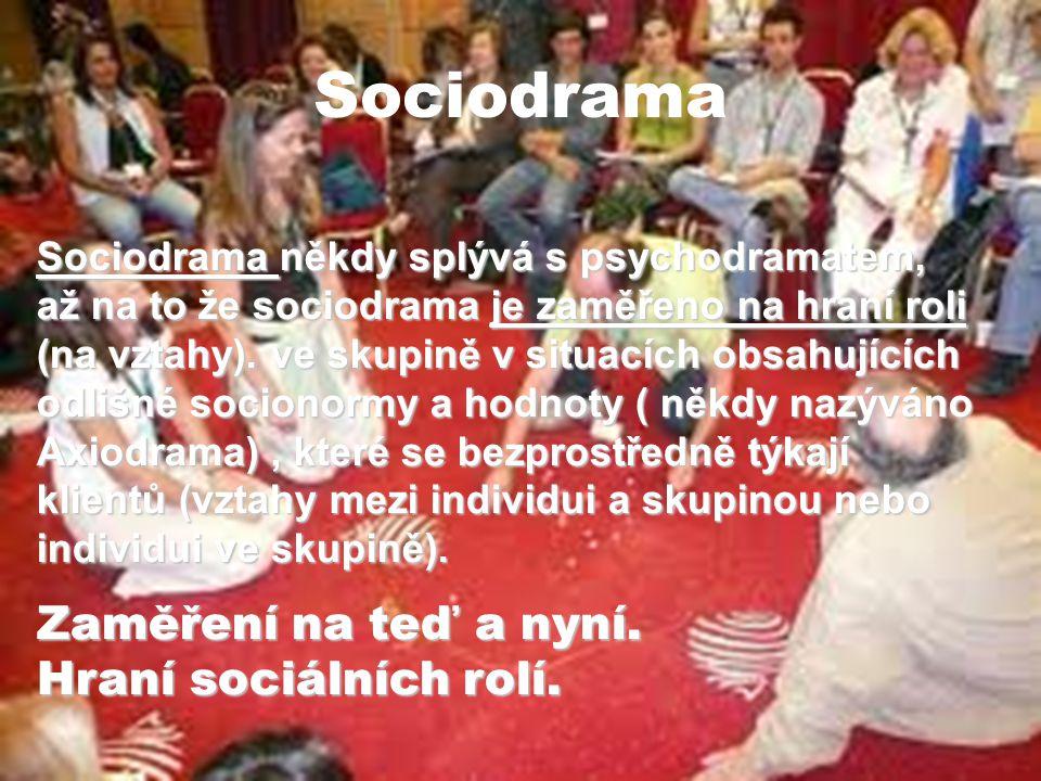 Sociodrama Zaměření na teď a nyní. Hraní sociálních rolí.